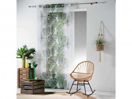 Dekorační záclona GREEN 02 se vzorem s kroužky 140x240 cm MyBestHome