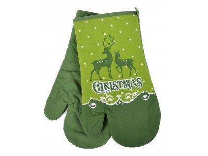 Kuchyňské rukavice chňapky MERRY CHRISTMAS, zelená 18x30 cm Essex