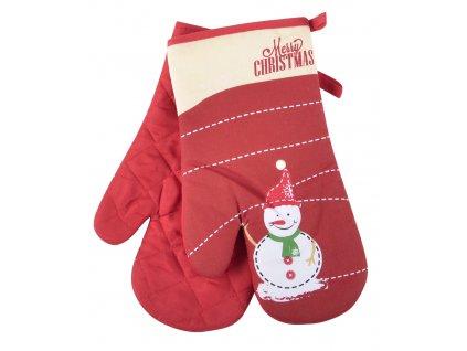 Kuchyňské rukavice chňapky SNOWMAN motiv B - SNĚHULÁK, červená 18x30 cm Essex