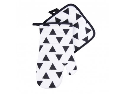 Kuchyňský set rukavice/chňapka BLACK WHITE motiv A, 18x30 cm/20X20 cm ESSEX, 100% bavlna