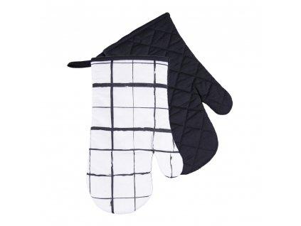 Kuchyňské bavlněné rukavice chňapky BLACK WHITE motiv B, 100% bavlna 18x30 cm Essex