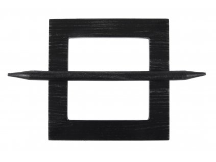 Dekorační ozdobná spona na závěsy z přírodního dřeva AMER, černá/stříbrná, 15x15 cm Mybesthome