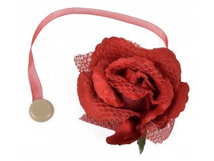 Dekorační ozdobná spona na závěsy s magnetem VIOLETTA, červená, Ø 14,5 cm 2 kusy v balení Mybesthome