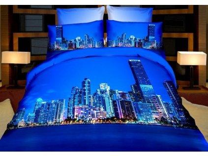 Povlečení 3D BLUE CITY set 4 ks, francouzské povlečení, 1x 200x220 cm, 2x povlak 70x80 cm, prostěradlo 200x220 cm MyBestHome