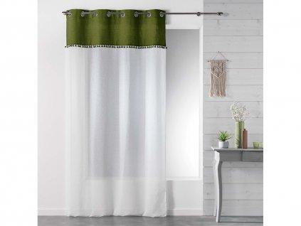 Dekorační záclona TANGO zelená/bílá s kroužky 140x240 cm MyBestHome