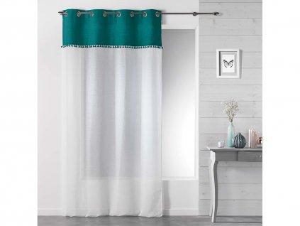 Dekorační záclona TANGO mořská zelená/bílá s kroužky 140x240 cm MyBestHome