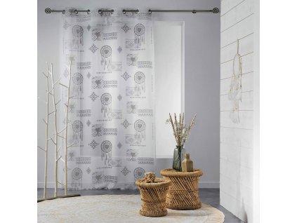 Dekorační záclona MOHICAN - LAPAČ SNŮ se vzorem s kroužky 140x240 cm MyBestHome