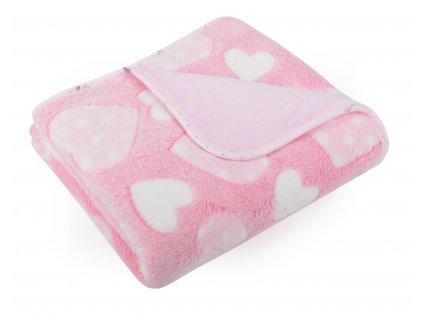 Dětská deka EMMA růžová motiv srdíčka 80x90 cm Mybesthome