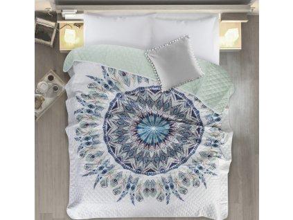 Přehoz na postel LAPAČ SNŮ - MANDALA 200x220 cm mátová Mybesthome