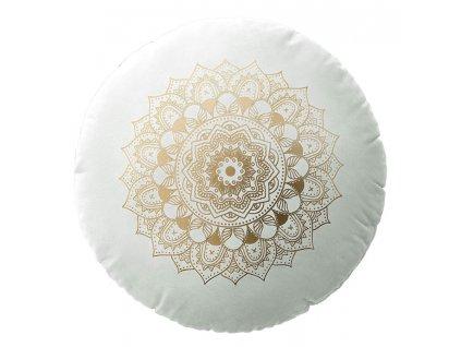 Polštář s výplní MANDALA bílá Ø 45 cm x 15 cm  Mybesthome