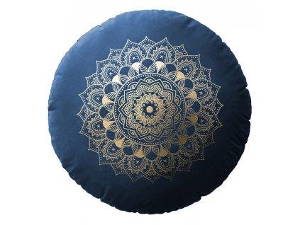 Polštář s výplní MANDALA tmavě modrá Ø 45 cm x 15 cm  Mybesthome