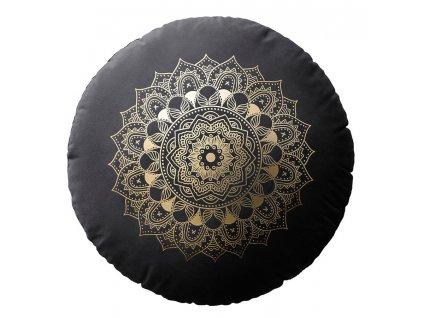 Polštář s výplní MANDALA černá Ø 45 cm x 15 cm  Mybesthome