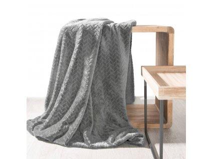 Přehoz na pohovku - deka z mikrovlákna SOFIA 220x200 cm tmavě šedá Mybesthome