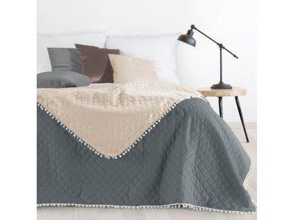 Přehoz na postel MICHELL 220x240 cm šedá/růžová Mybesthome