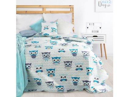 Přehoz na postel SOVIČKY 170x210 cm modrá Mybesthome