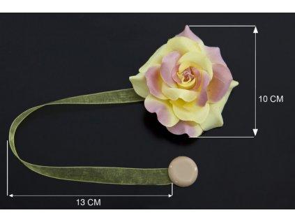 Dekorační ozdobná spona na závěsy s magnetem VERONICA, růžová/žlutá, Ø 10 cm 2 kusy v balení Mybesthome