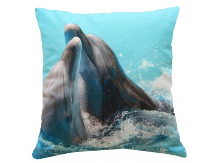 Polštář DELFÍN MyBestHome 40x40cm fototisk 3D motiv delfína