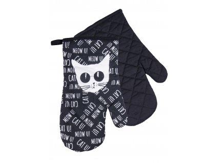 Kuchyňské bavlněné rukavice chňapky BLACK CAT, 100% bavlna 19x30 cm Essex