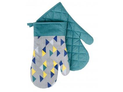 Kuchyňské bavlněné rukavice chňapky BRAVE CHEF, motiv B, zelená, 100% bavlna 19x30 cm Essex