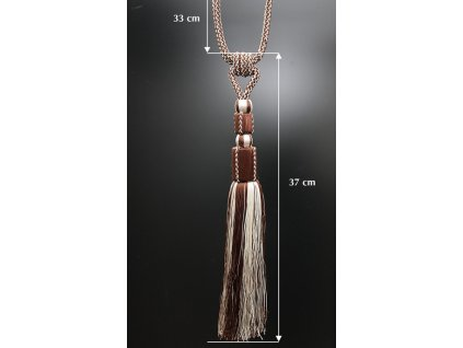 Dekorační ozdobný úvaz - šňůra na závěsy ALVARO 37 cm hnědá/krémová Mybesthome