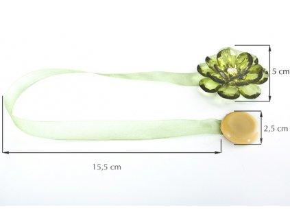 Dekorační ozdobná spona na závěsy s magnetem VALERIA, zelená, Ø 5 cm 2 kusy v balení Mybesthome