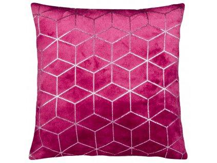 Polštář SIMONE mikrovlákno vínová Essex 40x40cm, geometrický vzor