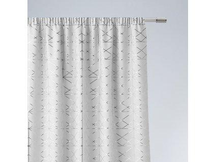 Dekorační vzorovaný závěs s řasící páskou BRILIANTOS bílá 140x250 cm (cena za 1 kus) MyBestHome