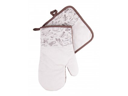 Kuchyňský set rukavice/chňapka VERDURE béžová 19x30 cm/20X20 cm ESSEX, 100% bavlna