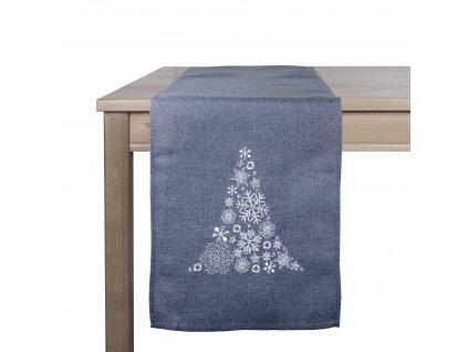 Ubrus - běhoun na stůl WINTER TIME, 35x180 cm, tmavě šedá, ESSEX