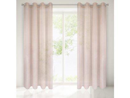 Dekorační záclona EMMA růžová s kroužky 140x250 cm MyBestHome