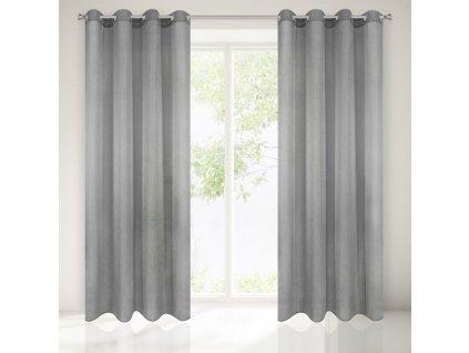 Dekorační záclona EMMA šedá s kroužky 140x250 cm MyBestHome