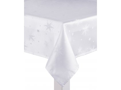 Ubrus CHRISTMAS DE LUXE, 150x220 cm, bílá, motiv vánoční hvězdy, ESSEX