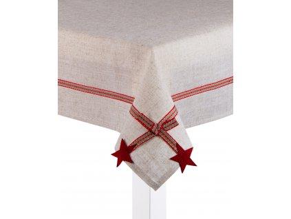 Ubrus LINEN GIFT, 80x80 cm, motiv hvězdičky , ESSEX