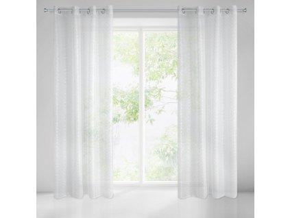 Dekorační vzorovaná záclona CARTURA bílá/stříbrná 140x250 cm MyBestHome