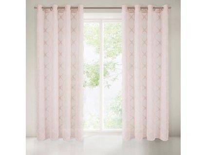 Dekorační vzorovaná záclona SALLO růžová 140x250 cm MyBestHome