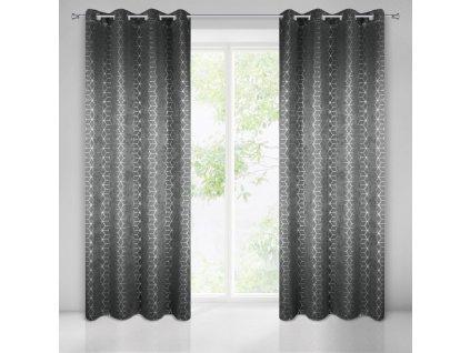 """Dekorační vzorovaný závěs """"BLACKOUT"""" zatemňující TRENTINO 135x250 cm, šedá/stříbrná, MyBestHome"""