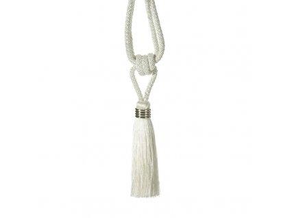 Dekorační ozdobný úvaz - šňůra na závěsy ULRIKA 16 cm, bílá, Mybesthome