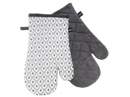 Kuchyňské bavlněné rukavice 2 chňapky TIMEX béžová/šedá, 100% bavlna 19x30 cm Essex