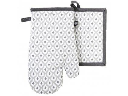 Kuchyňský set rukavice/chňapka TIMEX béžová/šedá, 18x30 cm/20X20 cm ESSEX, 100% bavlna