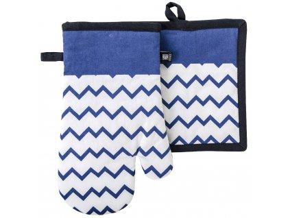 Kuchyňský set rukavice/chňapka TWISTER bílá/modrá, 18x30 cm/20X20 cm ESSEX, 100% bavlna