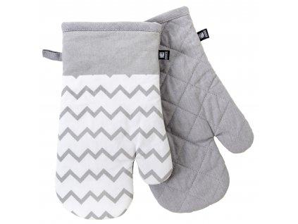 Kuchyňské bavlněné rukavice - chňapky TWISTER bílá/šedá, 100% bavlna 19x30 cm Essex