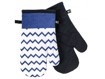Kuchyňské bavlněné rukavice - chňapky TWISTER bílá/modrá, 100% bavlna 19x30 cm Essex