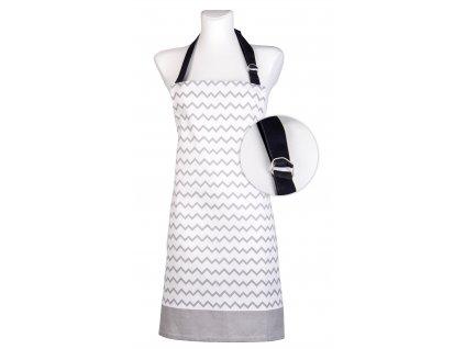 Kuchyňská bavlněná zástěra TWISTER bílá/šedá, Essex, 100% bavlna