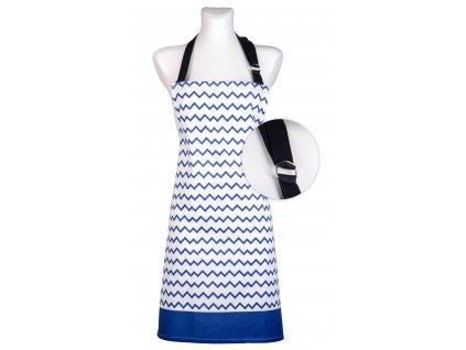 Kuchyňská bavlněná zástěra TWISTER bílá/modrá, Essex, 100% bavlna