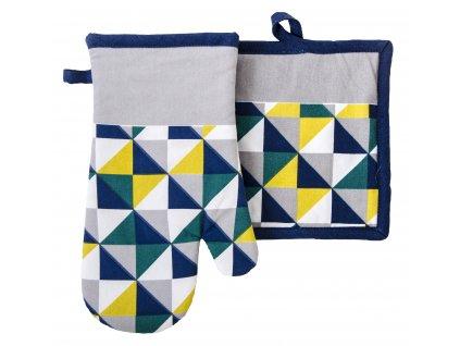 Kuchyňský SET rukavice/chňapka SCOPE bílá/žlutá, 18x30 cm/20X20 cm ESSEX, 100% bavlna