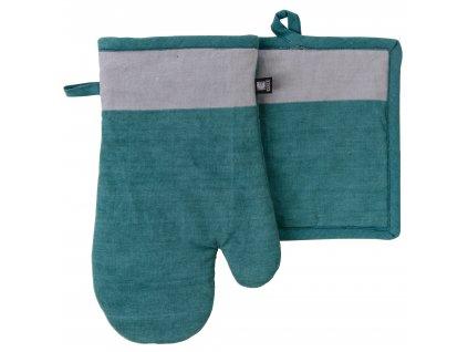 Kuchyňský SET rukavice/chňapka UNIVERSAL tyrkysová, 18x30 cm/20X20 cm ESSEX, 100% bavlna