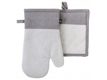 Kuchyňský SET rukavice/chňapka UNIVERSAL světle šedá, 18x30 cm/20X20 cm ESSEX, 100% bavlna
