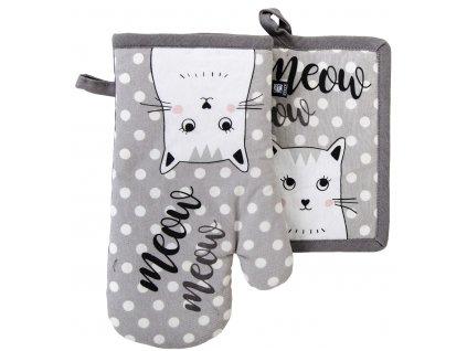 Kuchyňský SET rukavice/chňapka ROYAL šedá, 18x30 cm/20X20 cm ESSEX, 100% bavlna