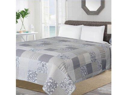 Přehoz na postel PATCHWORK NEW 200x220 cm šedá vzor patchwork ESSEX