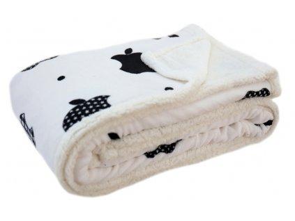 Přehoz - mikrovláknová deka s beránkem APPLE bílá -150x200 cm Mybesthome